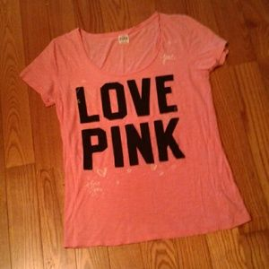 LOVE PINK I Love You Hearts Tee L